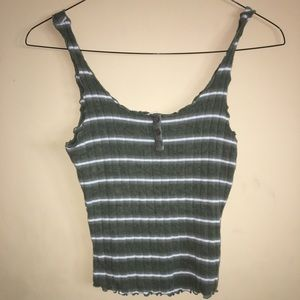 Tillys - green tan top with white stripes